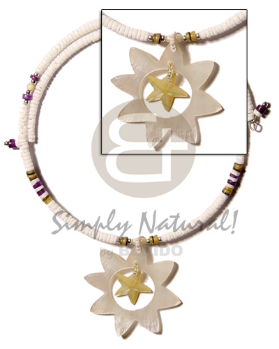 Ethnic white clam 3-4mm wire choker adjustable necklace