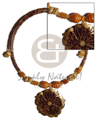 Unisex 45mm flower coco gold adjustable necklace