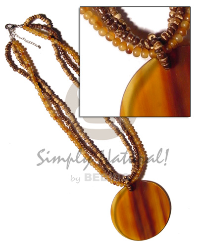 Teens 3 layers 2-3mm tiger coco bone necklace