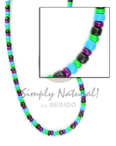 Ethnic 4-5mm pokalet blabk neon green aqua blue violet bright & vivid color necklace
