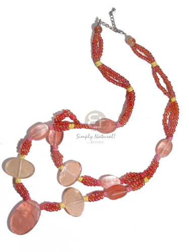 Native 3 rows glass beads in bright & vivid color necklace