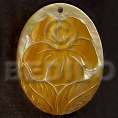 Unisex oval mop skin flower carved pendants