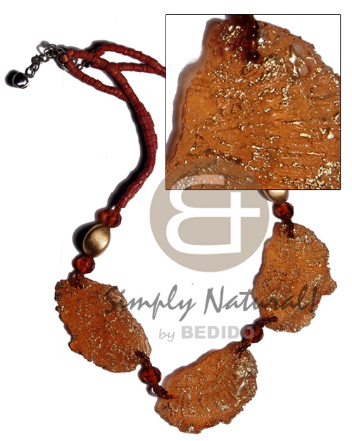 Philippine 2-3mm rust coco heishe choker necklace