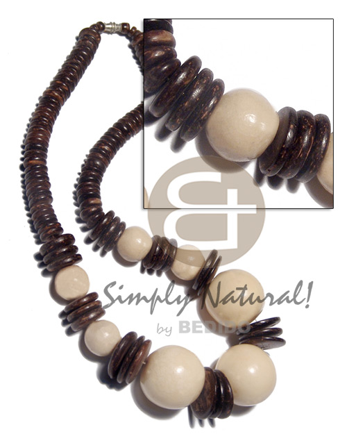 Philippines polished natural white wood beads choker necklace