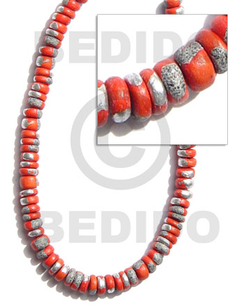 Natural 4-5mm coco pokalet. red orange coco beads