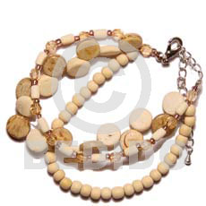 Ladies 3 rows sidedrill coco natural bleach wood coco bracelets