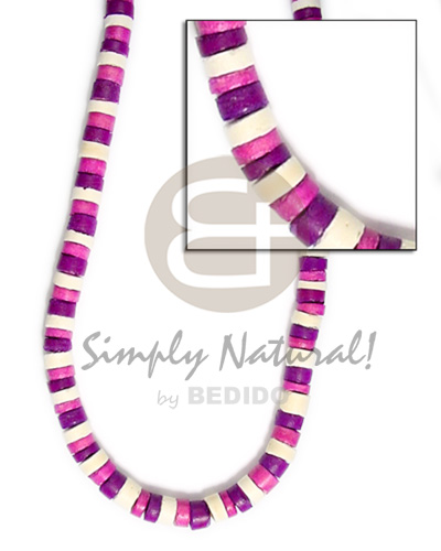 Native 4-5mm coco heishe white pink violet combinationnation coco necklace