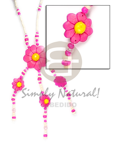 Philippine 3-tassel triple coco flower pendant coco necklace