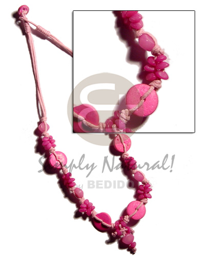 Philippine pink buri seeds and coco coco necklace