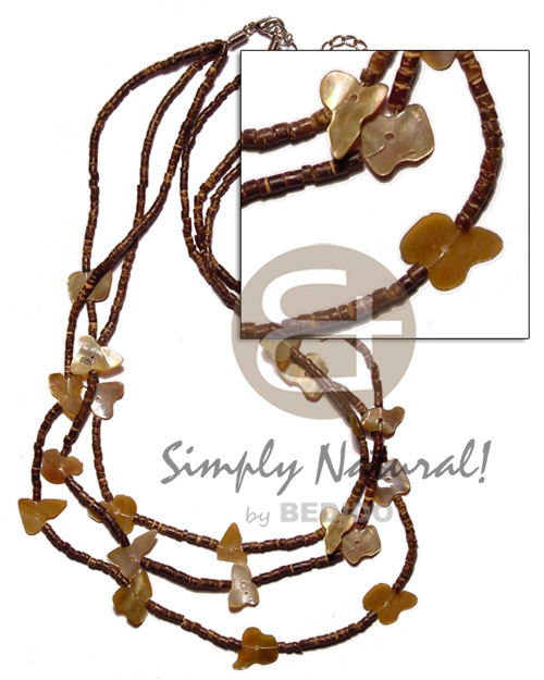 Natural graduated 3 layer 2-3mm coco coco necklace