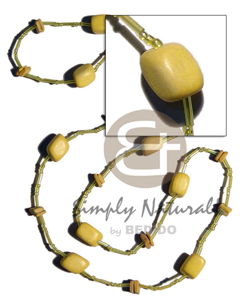 Natural yellow wood beads coco square coco necklace