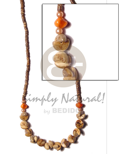 Ladies 2-3 coco heishe brown coco necklace