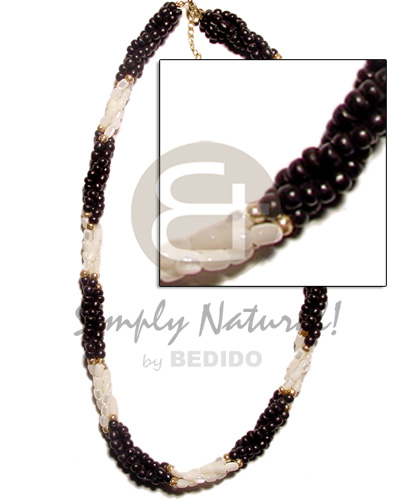 Wholesale twisted black coco pokalet and coco necklace