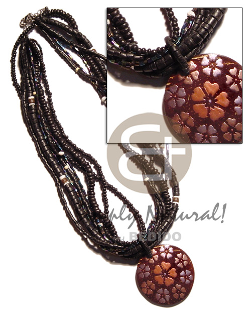 Native 7 rows 2-3mm 4-5mm coco necklace