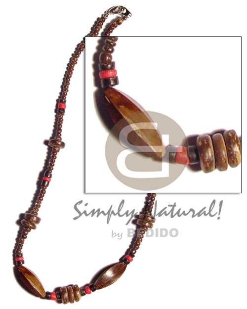 Cebu 2-3mm coco pokalet. natural brown.red coco necklace