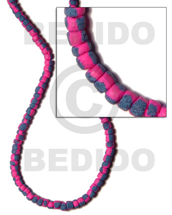 Natural 4-5mm coco pokalet. bright pink coco pokalet beads