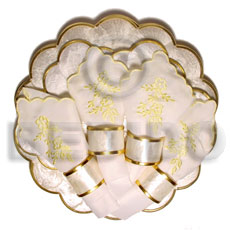 Unisex round scallop capiz set gifts & home table decor set