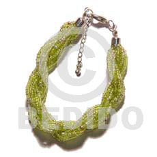 Teens 12 rows lime green twisted glass beads bracelets
