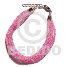 Ladies 6 rows pink multi layered glass beads bracelets