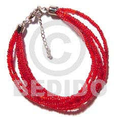 Handmade 6 rows red multi layered glass beads bracelets
