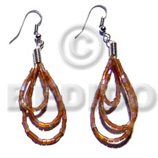 Ethnic dangling looped brown cut beads glass beads earrings