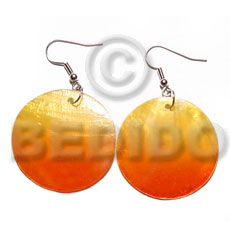 Teens dangling round 30mm hammershell in hand painted earrings