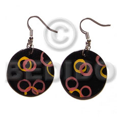 Natural dangling 35mm round blacktab shell hand painted earrings