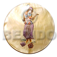 Teens round 40mm mop handpainted hand painted pendants