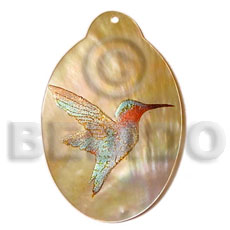 Wholesale oval mop 45mm handpainted hand painted pendants