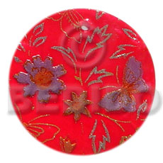 Ethnic round 35mm red hammershell hand painted pendants