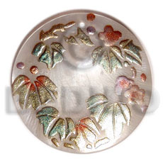 Natural round 40mm hammershell handpainted hand painted pendants