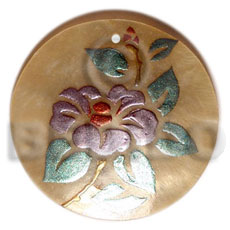 Philippine round 40mm mop handpainted hand painted pendants