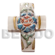 Ethnic cross 45mmx20mm kabibe shell hand painted pendants