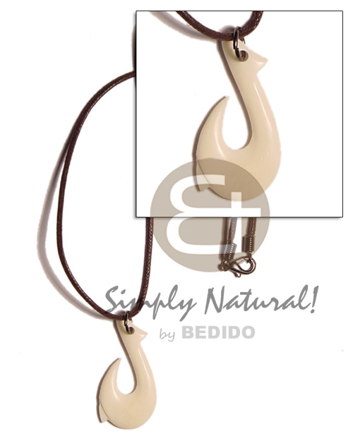 Native 35mm white bone hook horn necklace