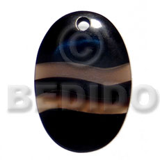 Fashion 50mmx35mm oval black horn horn pendants