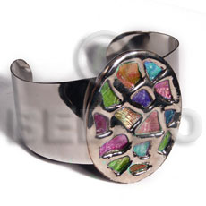 Fashion haute hippie 38mmx28mm metal cuff inlaid metal bangles