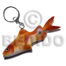 Fashion fish handpainted wood keychain 105mmx40mm keychain