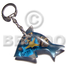 Ethnic 60mmx37mm transparent clear blue keychain