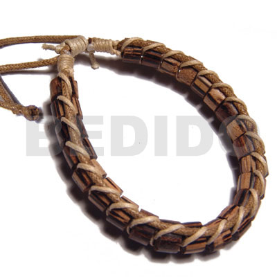 Natural palmwood cylinder wood beads in leather bracelets
