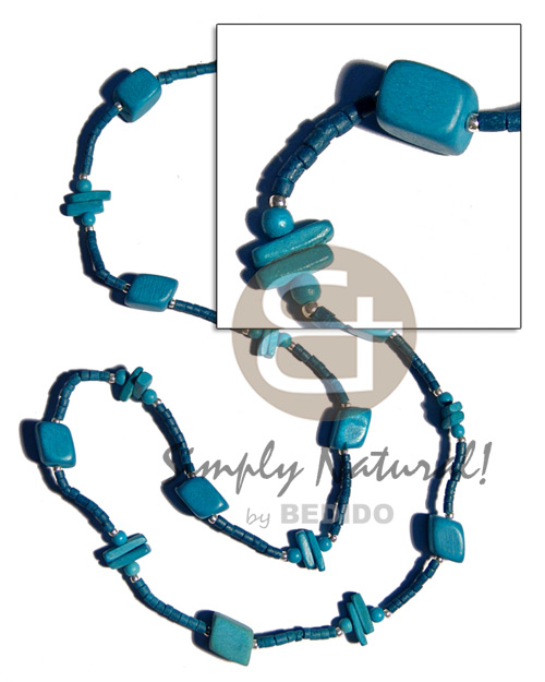 Natural blue wood beads coco long endless necklace