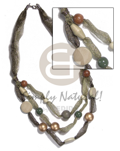 Native asstd. wood beads in multi long endless necklace