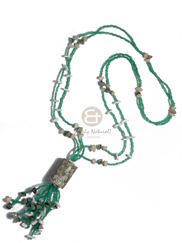 Natural 2 layers green glass beads long endless necklace
