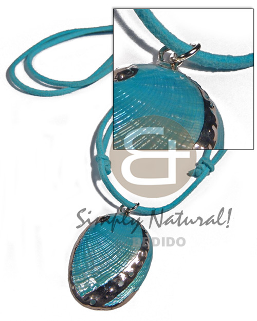 Handmade glistening turquoise abalone in mens necklace