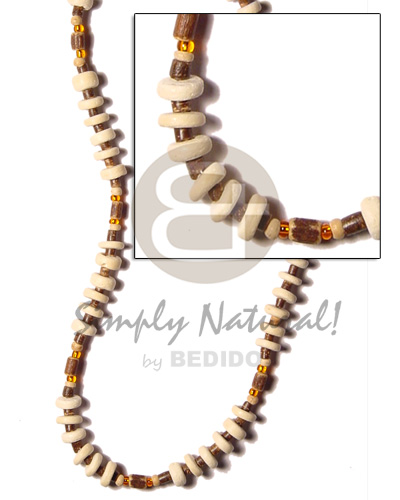 Natural 2-3 coco heishe brown mens necklace