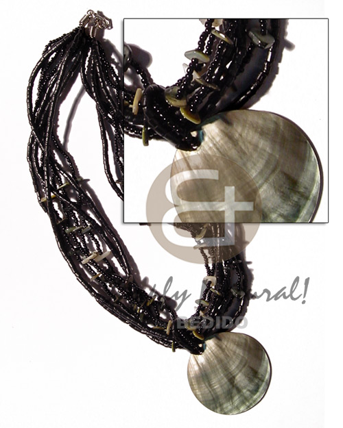 Philippines 6 layers black glass beads multi row necklace