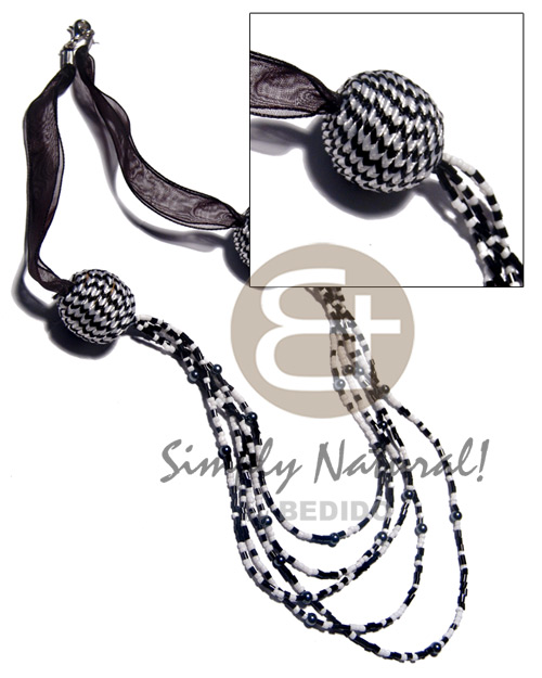 Handmade 5 r0ws black white glass beads multi row necklace