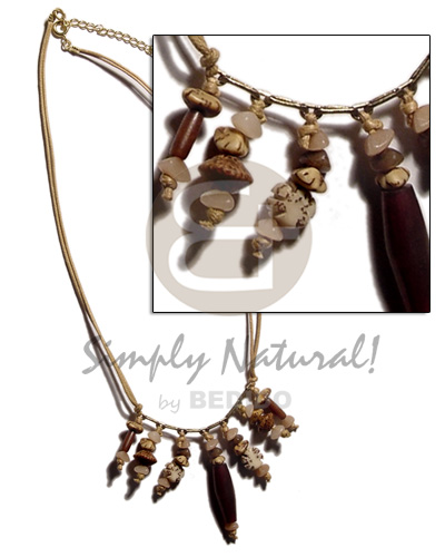 Wholesale dangling asstd. buri seeds natural earth color necklace