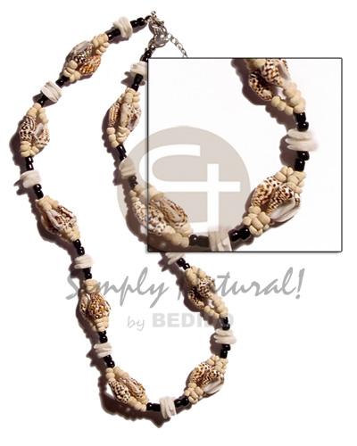Unisex nassa tiger white rose natural earth color necklace