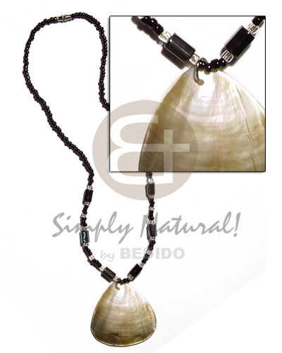 Native black glass beads hematite natural earth color necklace