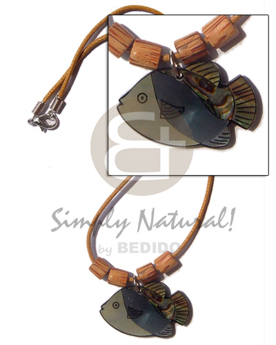 Native fish pendant inlay amber natural earth color necklace